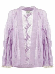 Forte Forte loose-fit cable knit cardigan - PURPLE