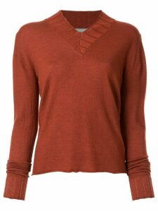 Suzusan v-neck knitted jumper - ORANGE