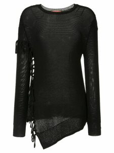 Manning Cartell asymmetric fringed jumper - Black