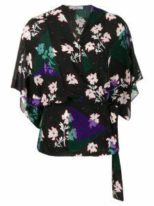 PS Paul Smith floral print wrap blouse - Black