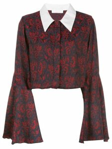 Suzanne Rae flare sleeve baroque blouse - Blue