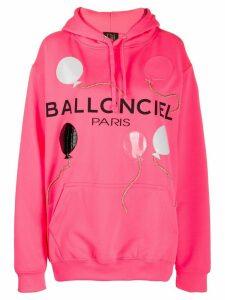 Nil & Mon logo print appliqué hoodie - Pink