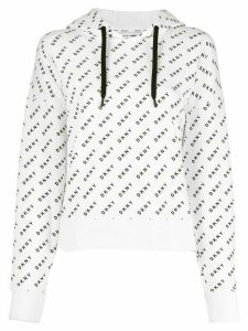 DKNY relaxed fit logo print hoodie - White