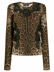 Dolce & Gabbana lace panelled leopard top - Brown