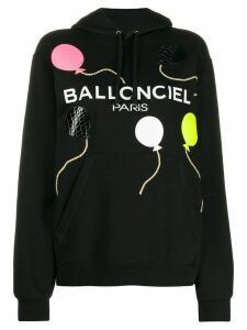 Nil & Mon textured balloon print hoodie - Black