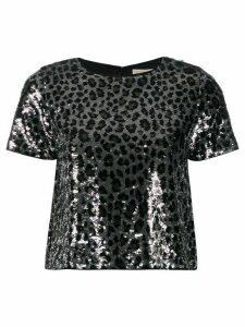 Michael Michael Kors leopard print sequinned T-shirt - Black
