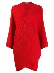 N.Peal ribbed cape cardigan - Red