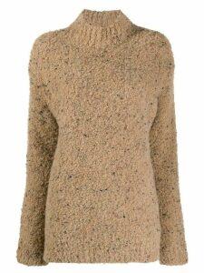 GANNI turtleneck knitted jumper - NEUTRALS