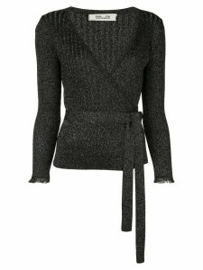 Diane von Furstenberg Beck metallic wool wrap top - Black