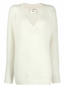 Semicouture v-neck jumper - White