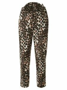 pushBUTTON high-waisted leopard-print trousers - Brown