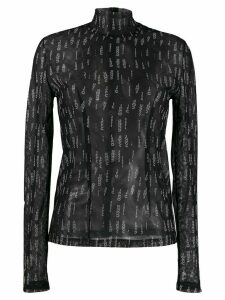 032C sheer logo-print top - Black