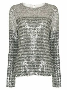 In The Mood For Love Elise striped sequin top - SILVER