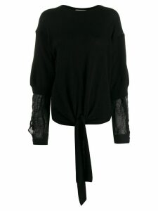 Maison Flaneur crinkled-panel relaxed-fit jumper - Black