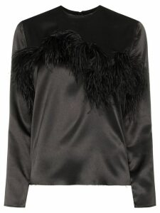 Marques'Almeida feather-trimmed satin blouse - Black