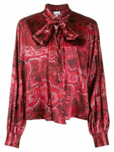 GANNI tied-neck blouse - Red
