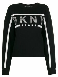 DKNY striped logo crew-neck sweatshirt - Black