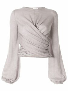 Giambattista Valli long-sleeve wrap blouse - Grey