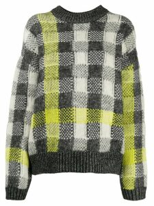 McQ Alexander McQueen checked ribbed knit jumper - Grey