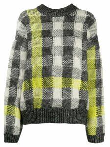 McQ Alexander McQueen checked ribbed knit jumper - Grey