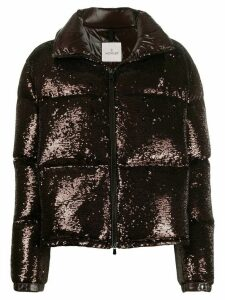 Moncler sequinned puffer jacket - Brown