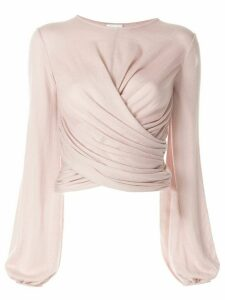 Giambattista Valli long-sleeve wrap blouse - PINK