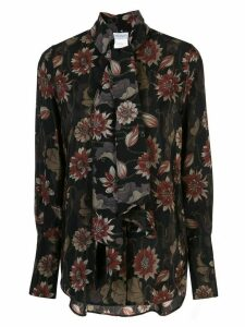 Salvatore Ferragamo waterlilies print silk blouse - Black