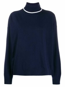 Semicouture striped trim roll neck jumper - Blue