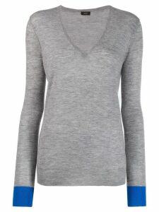 Joseph V-neck long-sleeve jumper - Grey