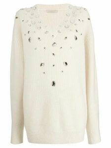 Christopher Kane crystal gem cashmere sweater - Neutrals