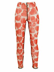 MSGM broken heart print leggings - ORANGE