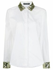 Dolce & Gabbana sequin embroidered poplin shirt - White