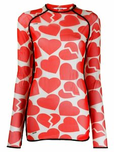 MSGM broken heart print long-sleeve top - Orange