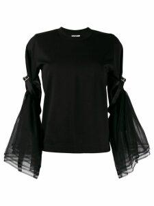 Comme Des Garçons Noir Kei Ninomiya tulle-sleeve crewneck top - Black