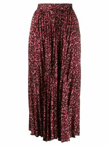 Andamane pleated leopard print skirt - Red