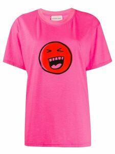 Natasha Zinko smiley print T-shirt - PINK