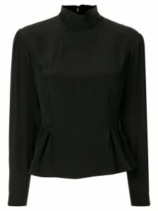 Giambattista Valli long-sleeved silk peplum blouse - Black
