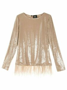 Alison Brett feather-embellished sequined top - Brown
