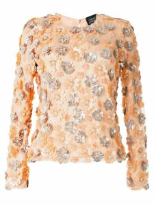 Alison Brett flower-embellished round-neck top - PINK
