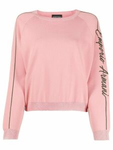 Emporio Armani embroidered logo jumper - PINK