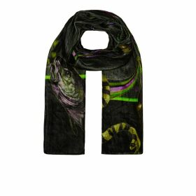Klements - Large Velvet Scarf In Rainbow Trout Print (Absinthe)