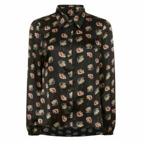 PHOEBE GRACE - Nancy Long Sleeve Shirt in Black Poppy Print