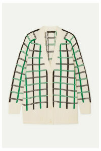 Maje - Maya Checked Knitted Cardigan - Ecru
