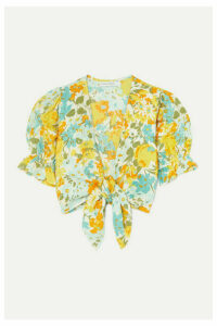 Faithfull The Brand - Jamais Cropped Tie-front Floral-print Linen Top - Yellow