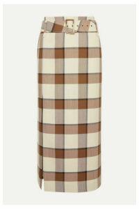 STAUD - Simone Belted Checked Wool-blend Piqué Midi Skirt - Brown
