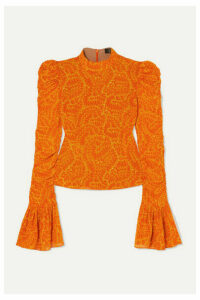 De La Vali - Puma Ruched Printed Georgette Top - Orange