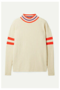 The Elder Statesman - Odyssey Striped Ribbed Cashmere Sweater - Ivory