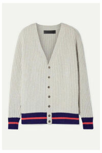 The Elder Statesman - Striped Ribbed Cashmere Cardigan - Light gray