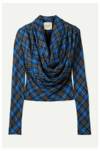 A.W.A.K.E. MODE - Blue Highlander Rollercoaster Draped Checked Twill Blouse - FR36
