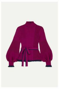 Roksanda - Auric Belted Ribbed Merino Wool Sweater - Magenta